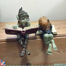 pixie shelf sitters pair garden ornament outdoor goblin