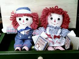 yesteryear country store raggedy ann and andy dolls tin ornaments