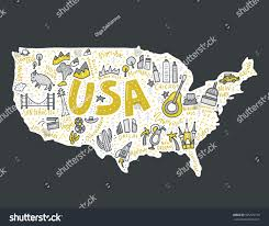 Maps Of United States by Map United States Cartoon Style Travel Stock Vector 595379159
