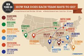 Citrus College Map 2015 Bowl Travel How Far Does Each Team Have To Go