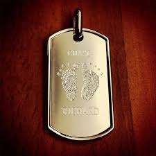 Baby Dog Tags Men U0027s Engraved Baby Footprint Sterling Silver Dog Tag Large