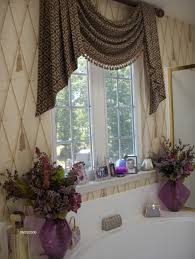 bathroom curtain ideas pinterest angled swags trimmed in bullion fringe with cascades window