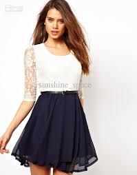 white dresses women chiffon lace dresses round neck lace
