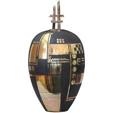 Ginger Jar Vase Large Tony Laverick Black And Gold Studio Pottery Ginger Jar And