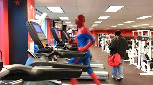 spider man spotted in gym on the treadmill happy halloween