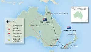 auckland australia map australia new zealand 17 days land tour