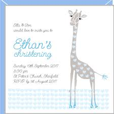 Personalised Christening Invitation Cards Personalised Christening Invitations For Boys With Cute Giraffe