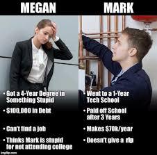 Meme Degree - social science degree vs tech school imgflip