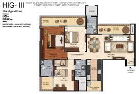 mahagun mirabella floor plan 3bhk 3t 1730 sqft
