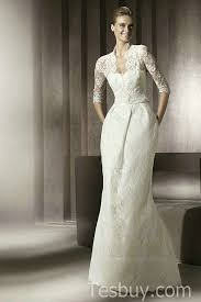wedding dresses wholesale modest v neck lace column wedding dress with sleeves wholesale