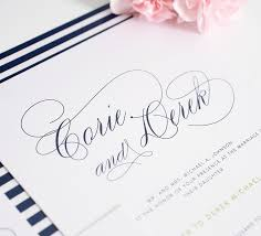 shine wedding band navy blue wedding invitations with script names and green belly