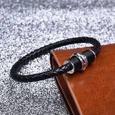 braided steel bracelet images Braided black leather with stainless steel bracelet macbarneys jpg
