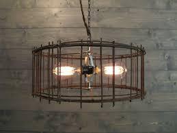 Industrial Chandelier Lighting Industrial Chandelier 17 Diameter Lighting Rustic Brown Steel Cage