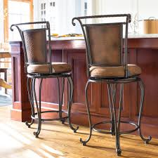 kitchen island chairs with backs rustic metal bar stool padded seat hammered copper high back