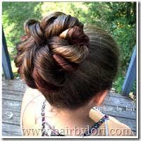 flower hair bun twisted flower bun hair by lori