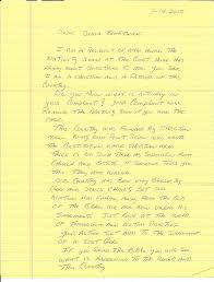 plaintiff in baxter county receives hand written letter