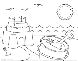 free colouring page by thaneeya sand castle tools for sand