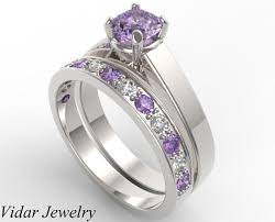 amethyst engagement ring sets unique alternating purple amethyst wedding ring set