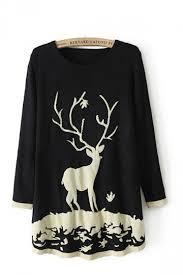 black knitting reindeer pattern sweater sweaters