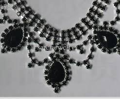 earring necklace rhinestone images 46 black necklace and earrings glamorous black rose evening party jpg