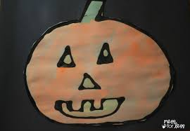 halloween crafts for kids black glue and watercolor pumpkins
