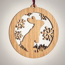 rabbit wood ornament woodland animal silhouette laser