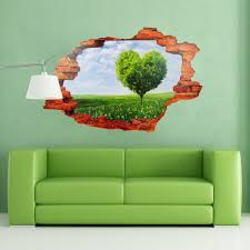 wall stickers uk wall art stickers kitchen wall stickers mj8024a view through the wall heart tree meadow