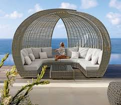 furniture ideas patio daybed canopy with curved wicker shaped and