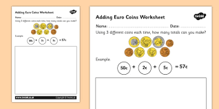 euro coins worksheet money currency euros coin