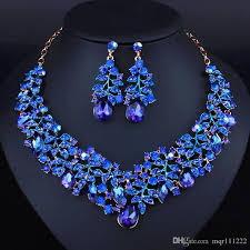 jewelry set 2017 simple style africa jewelry set royal blue noble necklace