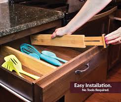 amazon com bamboo wooden drawer divider set of 4 adjustable