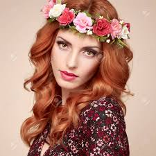 flower hairband autumn fall fashion portrait model woman in stylish