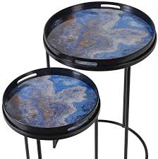 side table set of 2 buy blue marble effect side table set of 2 online cfs uk