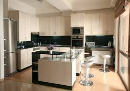 modern kitchen island design ideas wooden cabinet with black counter top and wooden table