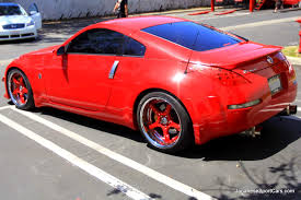 red nissan 350z modified custom red nissan 350z volk racing sf challenge wheels picture