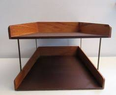 2 Tier Desk by Rare Knoll Mid Century Modern Letter Tray Bentwood Florence Knoll