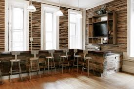 reclaimed wood wall large rustic basement bar home bar rustic with pendant light rustic wood