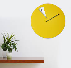 Design Clock by Freakish Clock Wall Clock Yellow U2013 Crowdyhouse