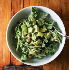vegan caesar kale salad with arugula