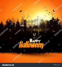 halloween haunted woods haunted graveyard woods halloween greeting card stock vector