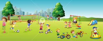 children and sports in the park illustration royalty