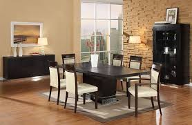 When White Leather Dining Chairs Dining Room Sets Contemporary Dark Brown Carpet On White Tile