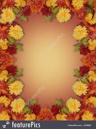 thanksgiving fall leaves flowers border illustration
