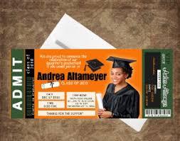 unique graduation announcements graduation announcement orange green ticket invitations