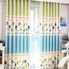 Blue And Yellow Curtains Prints And Lime Green House Patterned Print Polyester Color Block Kids
