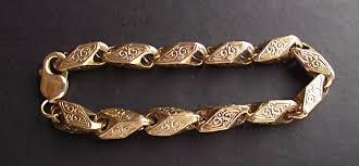 mens gold bracelet links images Men s 9ct solid gold losenger shaped patterned link bracelet fully jpg