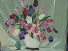 impressionist still live painting of flowers tulips by listed