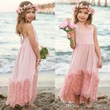 2017 new girls maxi dress kids dust pink cotton ruffles tulle