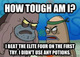 How Tough Am I Meme - how tough am i i beat the elite four on the first try i didn t use