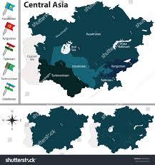 Map Of Central Asia Vector Political Map Central Asia Set Stock Vector 358250162